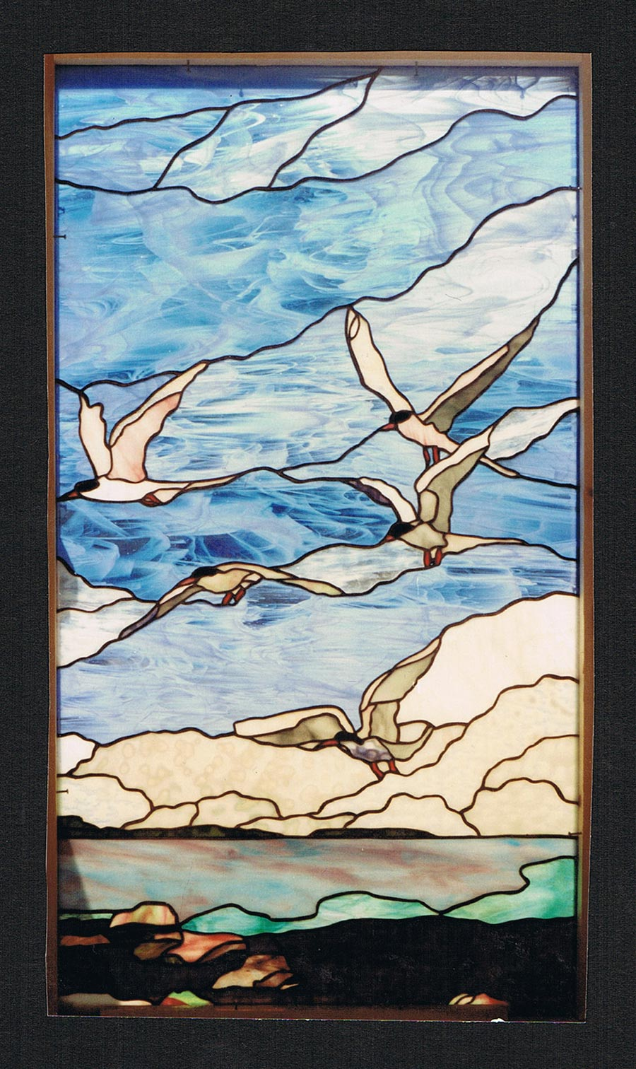 seagulls stained glass panel installation