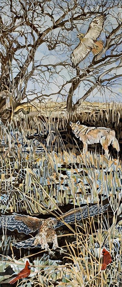 Winter animals painting by Vivian Kallmann